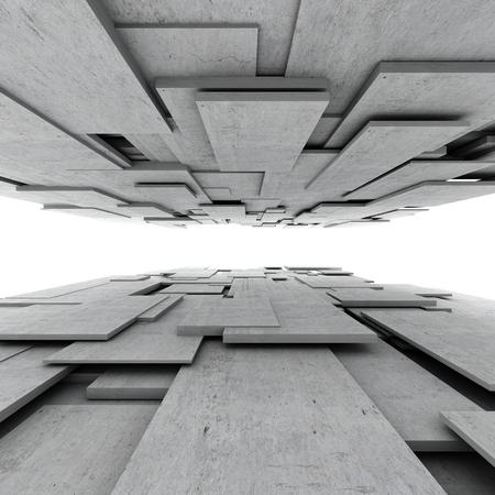 콘크리트 큐브의 추상적 인 기하학적 배경
