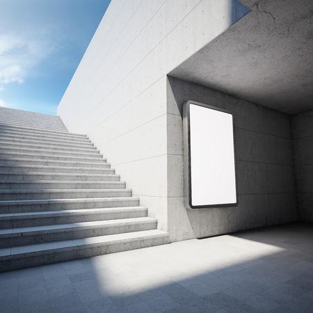 Blank Werbetafel auf Betonwand in unterirdischen