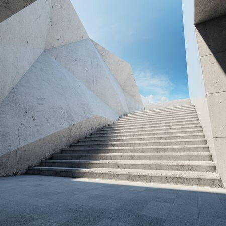 stone floor: Architectural element of concrete wall with stairs up Stock Photo