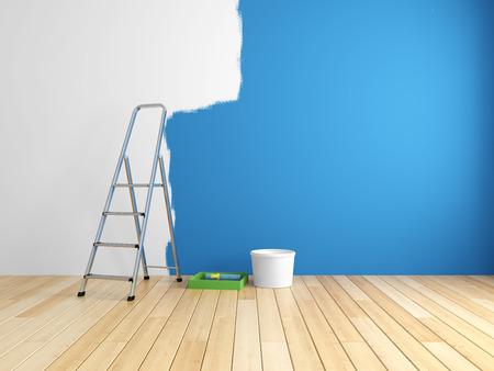 방에있는 벽의 수리 및 페인팅. 3d 렌더링입니다.