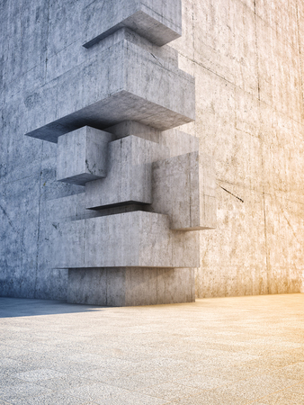 concrete blocks: Architectural design of abstract concrete building with elements of cubes Stock Photo