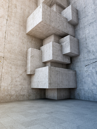 architectural design: Architectural design of concrete room with elements of cubes. 3D illustration.