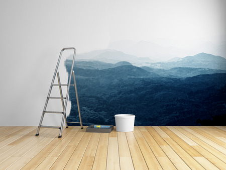 painting on the wall: Repairs in room with painting of mountains on wall