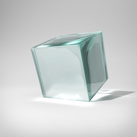 Glass cube in bright glow