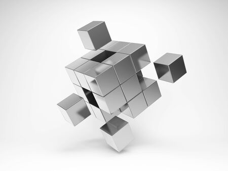 Metal cube with key elements Stockfoto