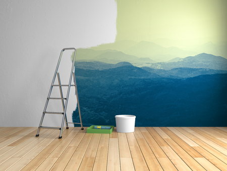 壁に山の絵の部屋での修理