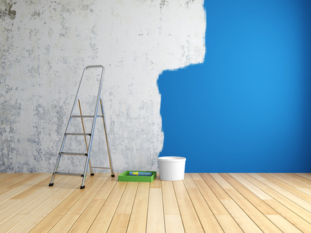 blue paintroller: Repair and painting of walls in room