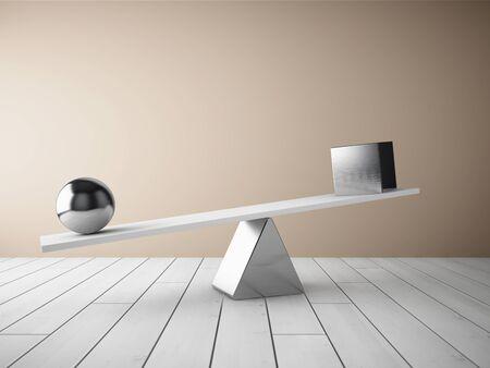 cubo: Bola de equilibrio del acero y el cubo en el suelo de madera en la habitación