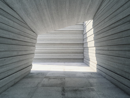 Architectural design concrete corridor with abstract geometry, 3D illustration. Stock Photo