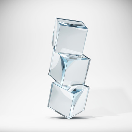 glass background: Glass cubes in stack. 3D illustration.