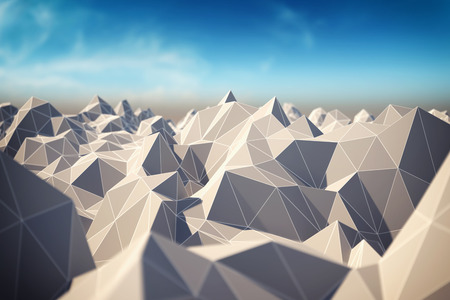 mesh: Abstract landscape of polygonal mesh with elements in focus. 3D illustration.