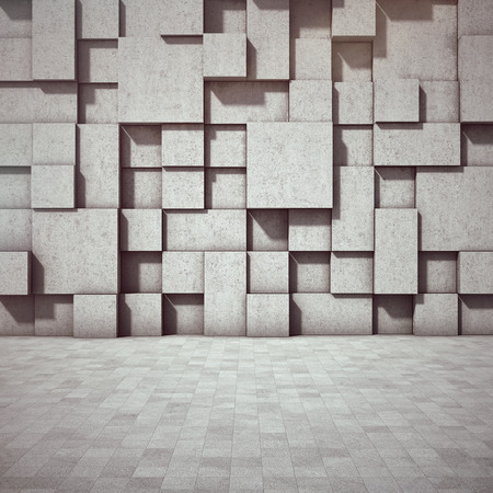 worn structure: Abstract geometric background of the concrete. 3D illustration.