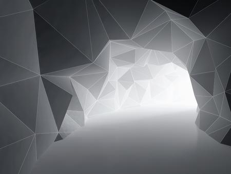 Abstracte tunnel van geometrische vormen. 3D-afbeelding. Stockfoto