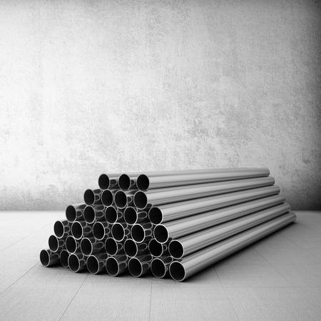tubing: Stack of steel tubing in grunge room. 3D illustration.