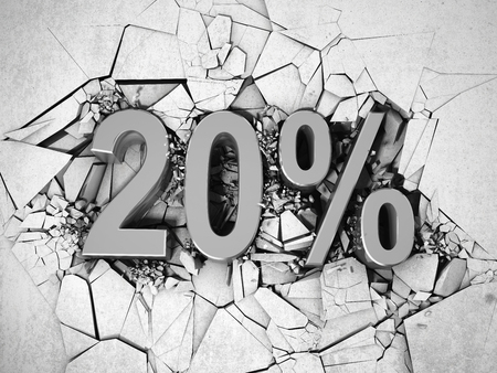price drop: Drop price by 20 percent. 3D illustration. Stock Photo