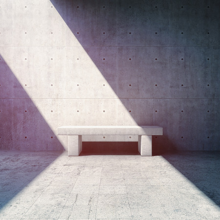 textured: Bench near concrete wall and beam of light. 3D illustration.