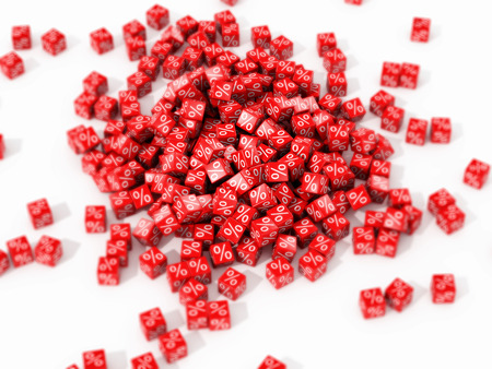 abatement: Big pile of red cubes with percent in focus on white background. 3D illustration.