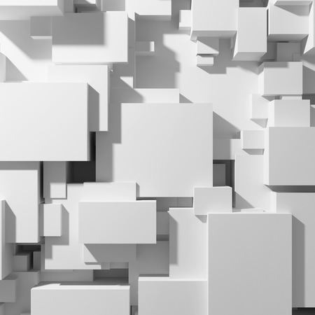 Cubes of different sizes in random order and top view. 3D illustration.