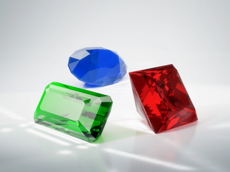 ruby: Beautiful gems emerald, ruby and sapphire. 3D illustration. Stock Photo