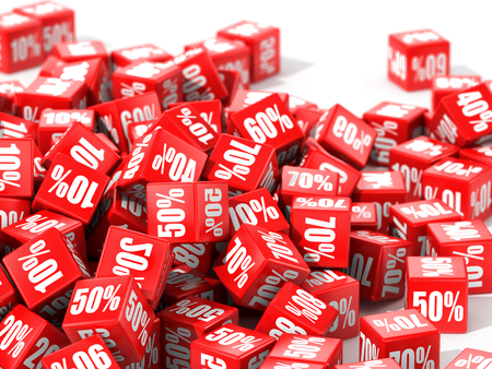 abatement: Red cubes with percent in focus isolated on white background. 3D illustration.