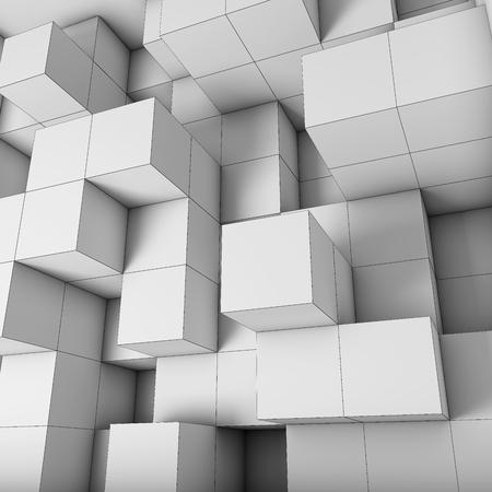 square button: Structural design cubes with visible edges. 3D illustration.