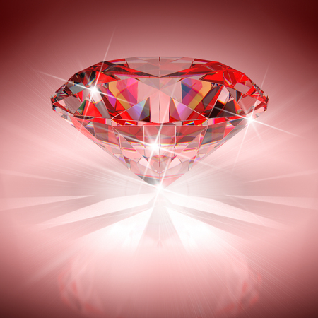 Red diamond in bright light. 3D illustration.