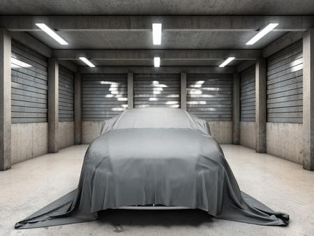 車で古い汚れたガレージは、布で覆われました。3 D イラスト。 写真素材