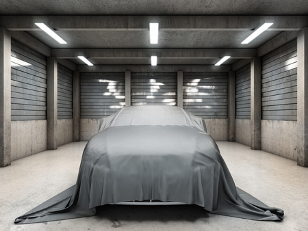 industrial vehicle: Old dirty garage with car covered with cloth. 3D illustration. Stock Photo