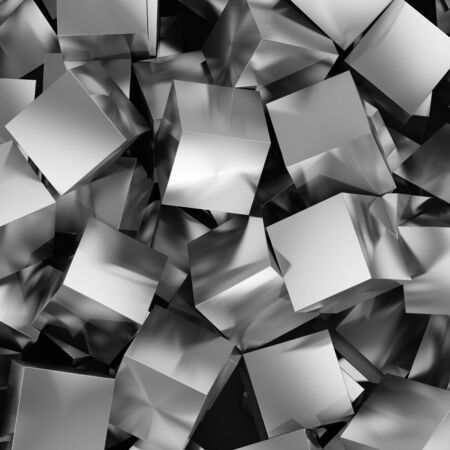 metallic background: Abstract background from metallic cubes. 3D illustration. Stock Photo