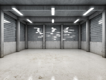 hangar: Open space empty garage or warehouse. 3D illustration.