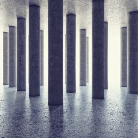 rung: Design of large hall with columns and bright light on horizon. 3D illustration.