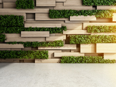 Wall in modern interior with wooden blocks and vertical garden. 3D illustration.