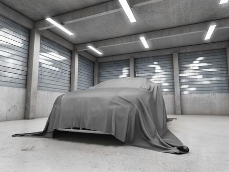 자동차와 함께 오래 된 더러운 차고 천으로 덮여있다. 3D 그림입니다.