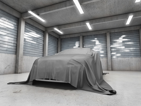 Old dirty garage with car covered with cloth. 3D illustration. Stock Photo