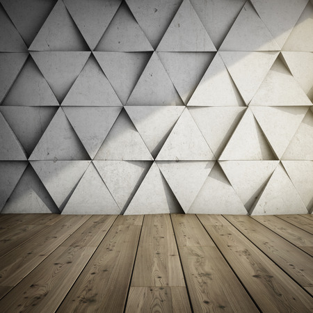 huge: Design of room with concrete wall of geometric shapes. 3D illustration.