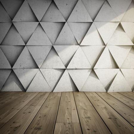 Ontwerp van kamer met betonnen muur van geometrische vormen. 3D illustratie. Stockfoto