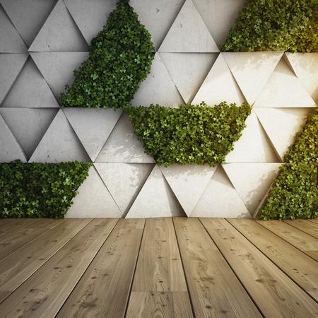 コンクリート ブロックと垂直庭園とモダンなインテリアの壁します。3 D イラスト。