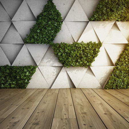 콘크리트 블록 및 수직 정원 현대적인 인테리어에서 벽. 3D 그림입니다. 스톡 콘텐츠