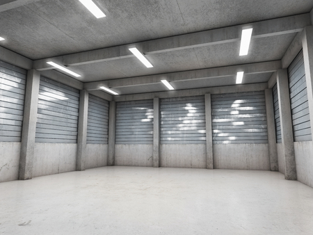 광장 빈 차고 또는 창고. 3D 그림.