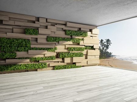 modern garden: Wall in modern interior with wooden blocks and vertical garden. 3D illustration.