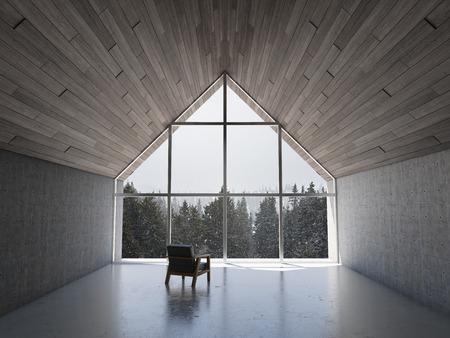 큰 베이 창 및 바다 전망 빈 현대 라운지 공간. 3D 그림.