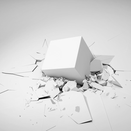 hits: Cube hits surface and destroys it. 3D illustration.