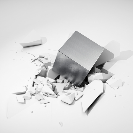 hits: Metal cube hits surface and destroys it. 3D illustration.