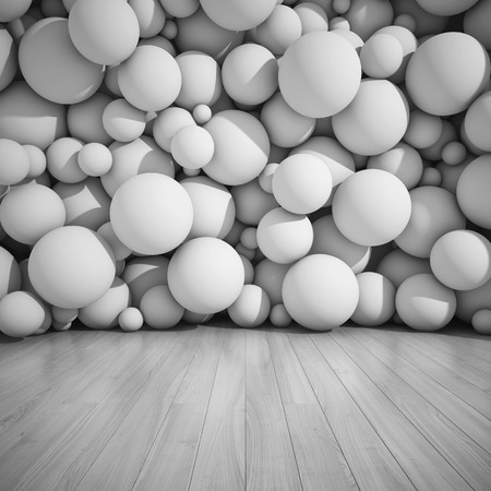 chaos: Architectural design of walls from spheres. 3D illustration.