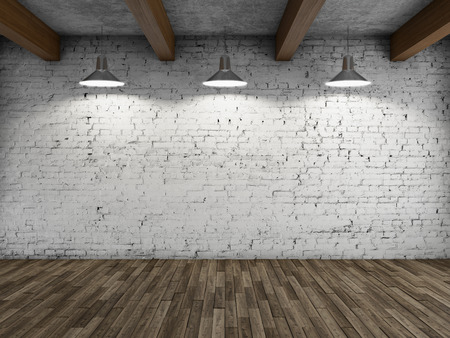 dirty: Interior style loft with lamps and brick wall. 3D illustration.