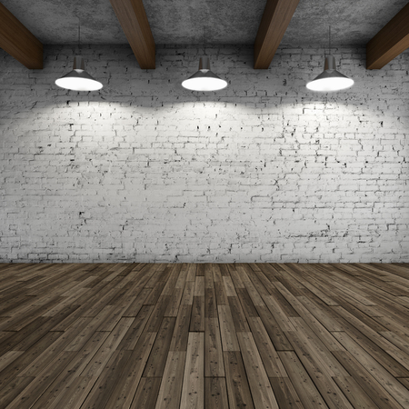 white wood floor: Interior style loft with lamps and brick wall. 3D illustration.