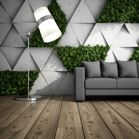 modern garden: Lounge zone in modern interior with concrete wall of blocks and vertical garden. 3D illustration.