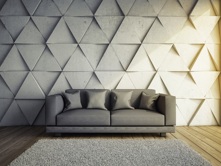 Sofa in living room with concrete wall 3D illustration.