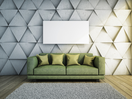 condo: Sofa in living room with concrete wall 3D illustration.
