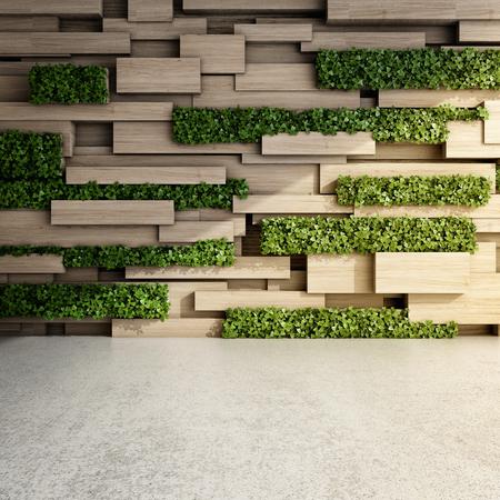 나무 블록 및 수직 정원 현대적인 인테리어 벽. 3D 그림. 스톡 콘텐츠
